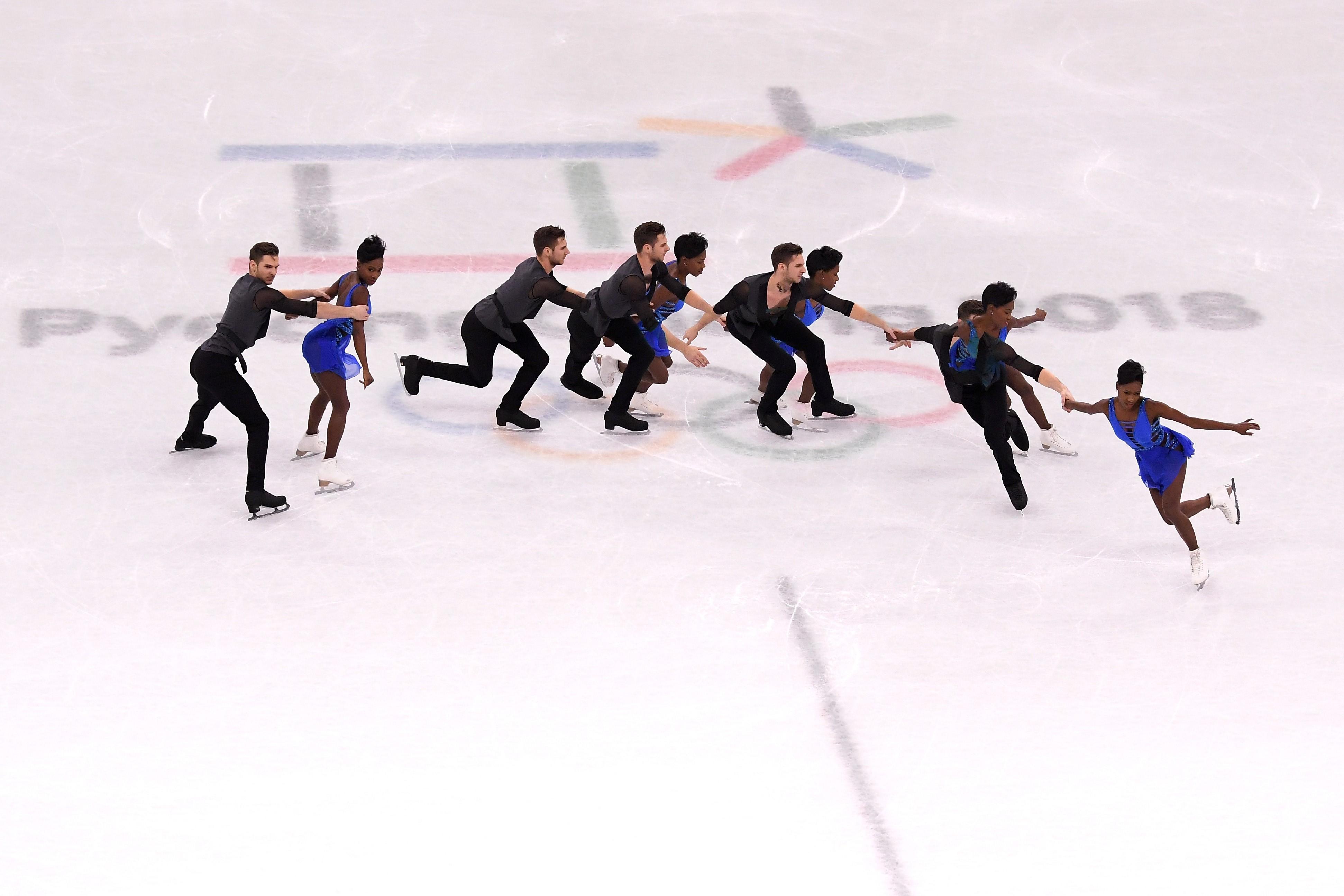 Vanessa James et Morgan Cipres lors des JO de Pyeongchang