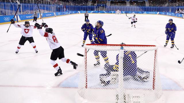 Damkronorna föll mot Schweiz - kan ställas mot Finland