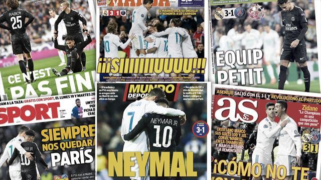"""""""Neymal"""", """"iii Siiiiuuuuu !!!"""" : La presse madrilène exulte après le succès face au PSG"""