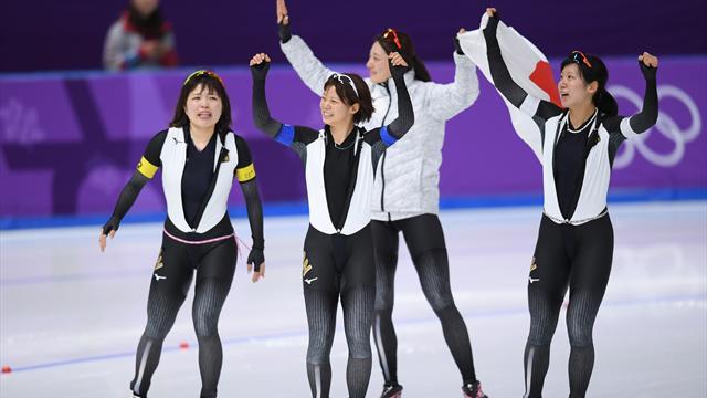 Kadınlar sürat pateni takım takipte Japonya'dan olimpiyat rekoru