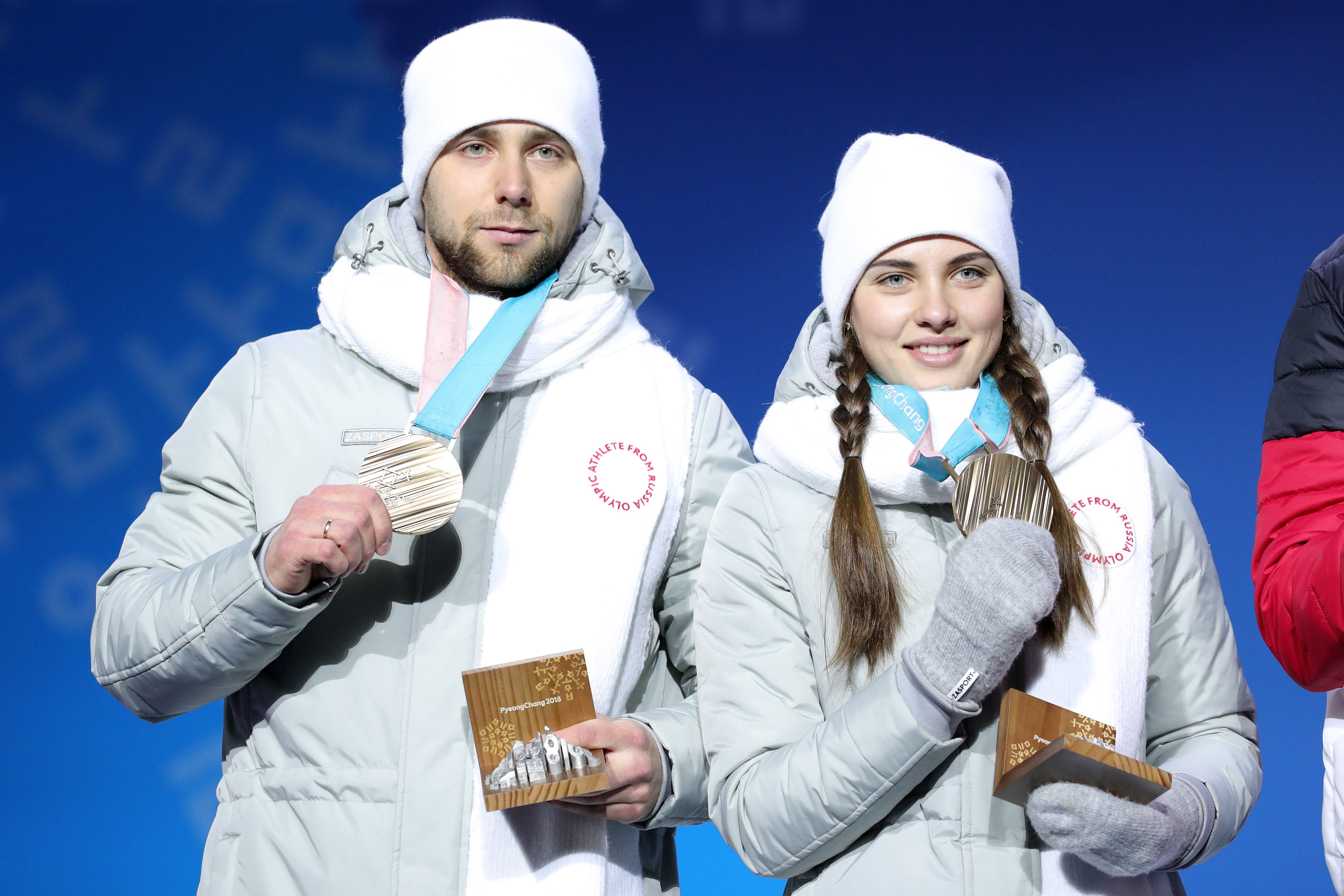 Bronze medalists Aleksandr Krushelnitckii and Anastasia Bryzgalova of Olympic Athletes from Russia pose during the medal ceremony for Curling Mixed Doubles on day five of the PyeongChang 2018 Winter Olympics at Medal Plaza on February 14, 2018 in Pyeongch