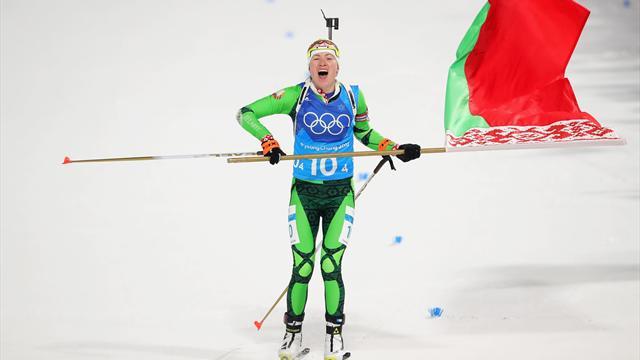 Kadınlar biatlonda son altın Darya Domracheva önderliğindeki Belarus'un