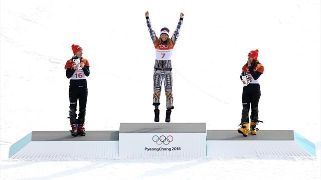 Histórica Ester Ledecka ganando el gigante paralelo tras ser campeona en esquí alpino