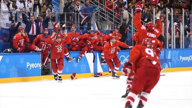Dramatik buz hokeyi finalinde zafer Olimpik Rus Sporcular Takımı'nın