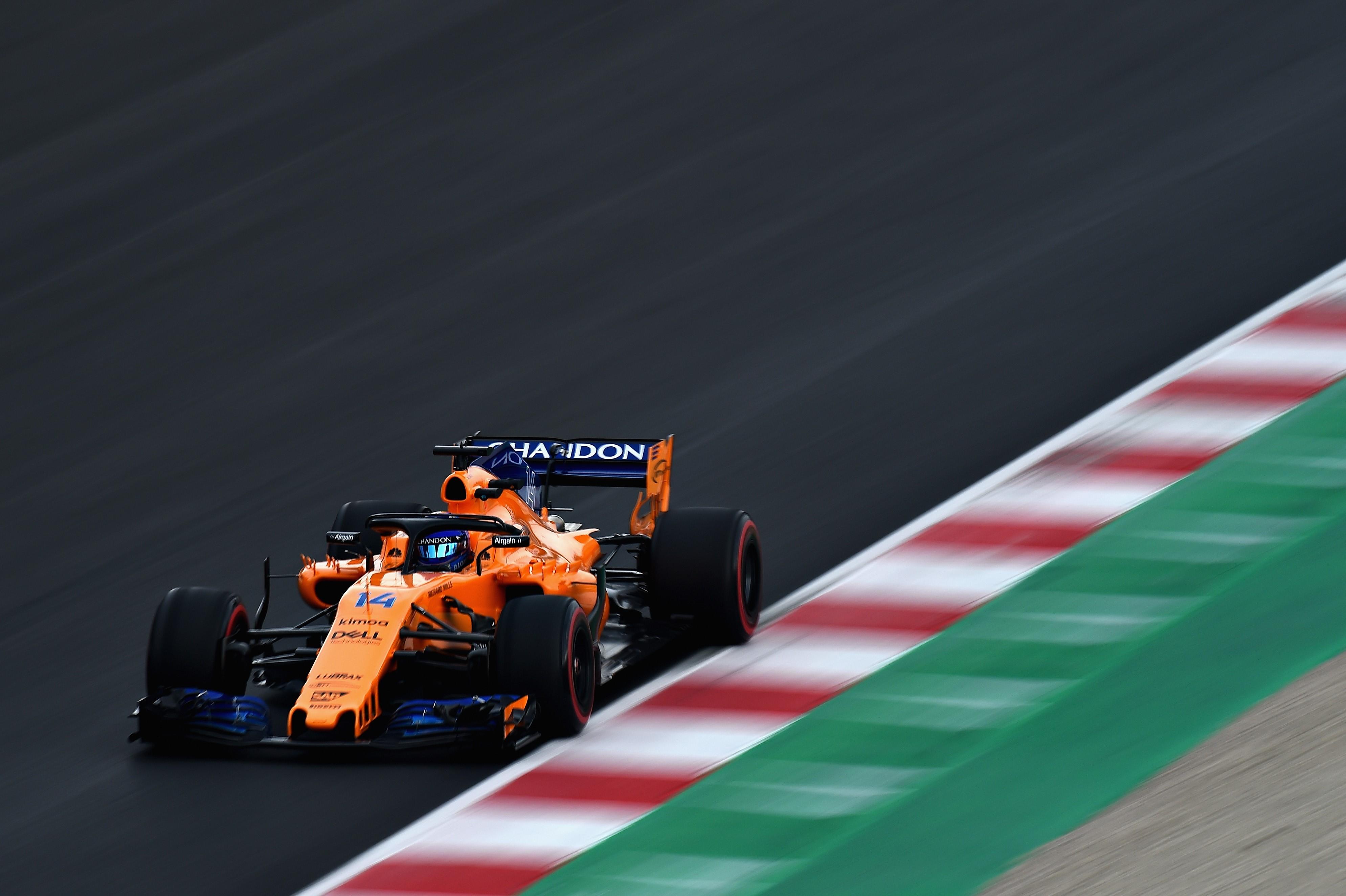Fernando Alonso (McLaren) en tests à Montmelo le 26 février 2018