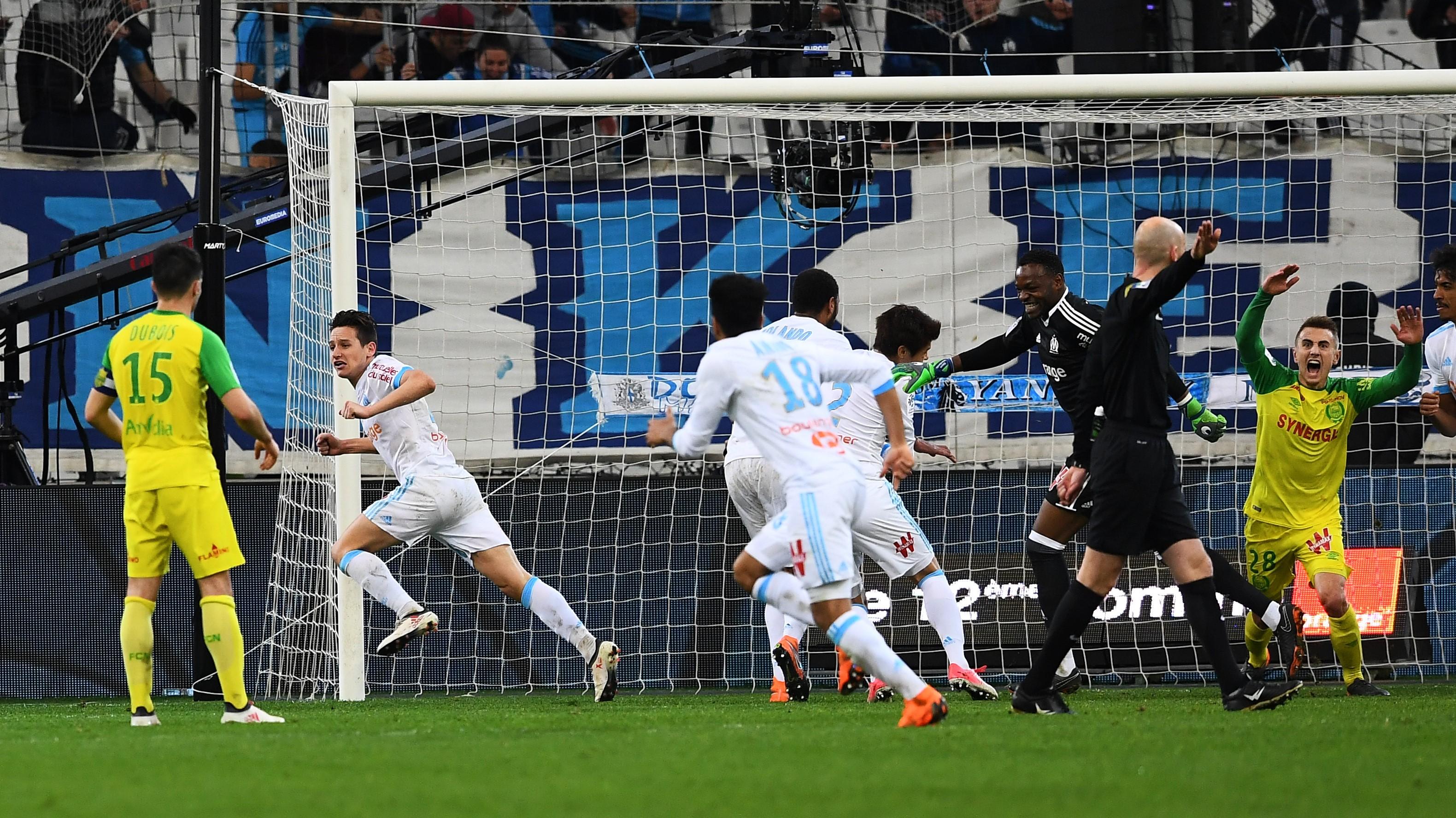 L'égalisation de Florian Thauvin pour Marseille contre Nantes en Ligue 1 le 4 mars 2018