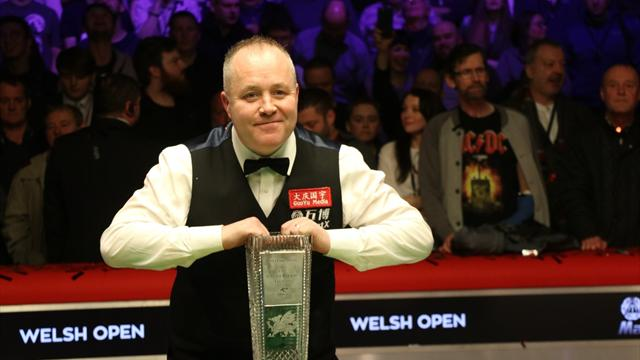 Higgins holds off Hawkins to win record fifth Welsh Open title