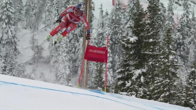 See the moment Svindal's Super G title dream died with mistake in Kvitfjell