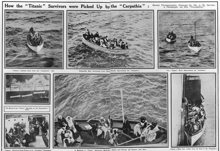 Ces photos ont été prises depuis le Carpathia, le bateau qui a récupéré les canots de sauvetage du Titanic.
