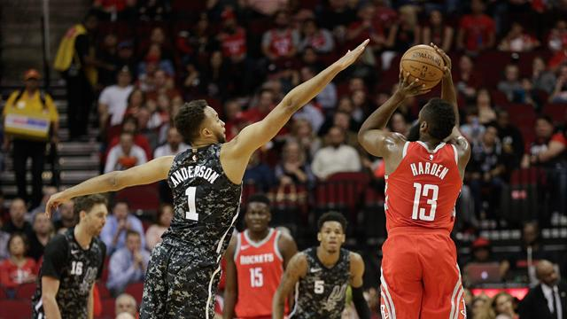 Rockets down Spurs, 109-93, as Harden returns