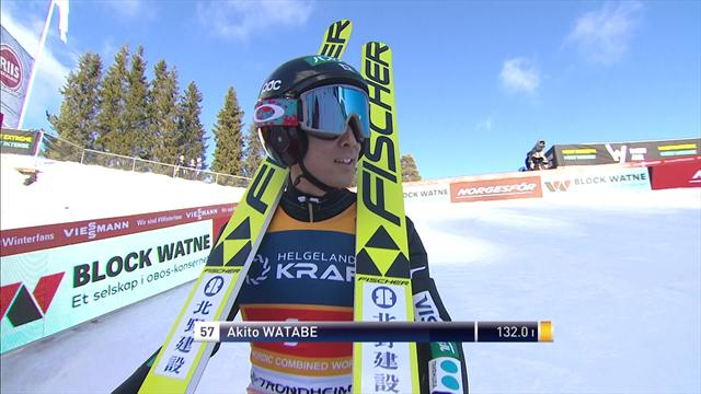 Akito Watabe jump in the Nordic Combined