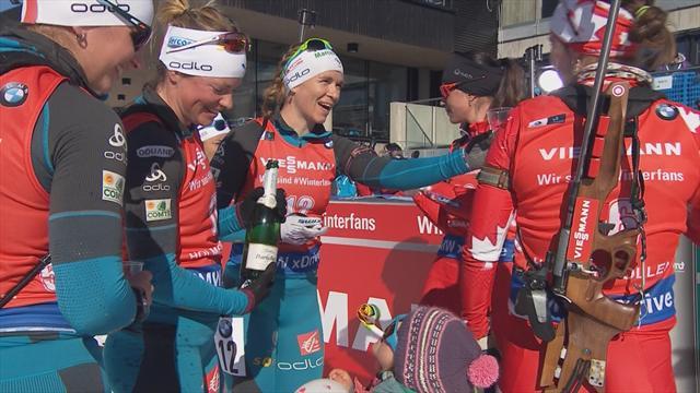 Sourires, cotillons et champagne : revivez l'arrivée de la dernière course de Marie Dorin-Habert