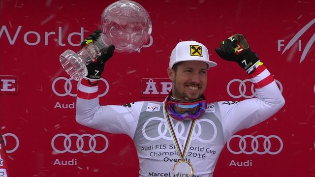 El rey Hirscher recibe su séptimo Globo de Cristal consecutivo como campeón