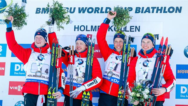 Norway men enjoy Biathlon World Cup relay victory on home soil