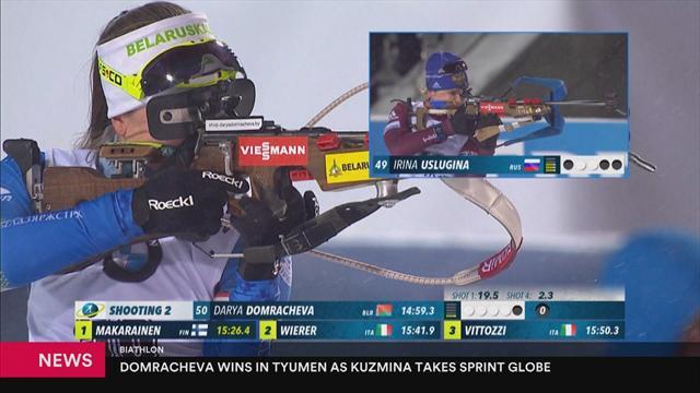 Darya Domracheva wins tight Biathlon sprint