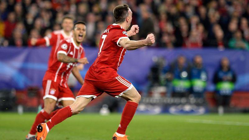 La joie de Franck Ribéry (Bayern) face au FC Séville.
