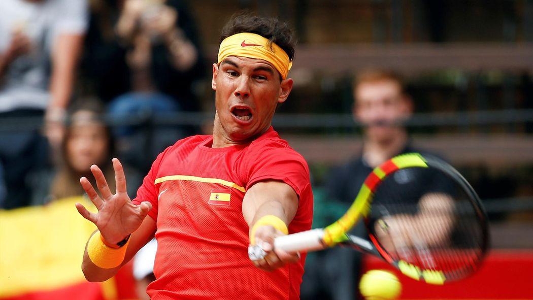 Davis Cup Viertelfinale Spanien Deutschland Rafael Nadal Schlägt