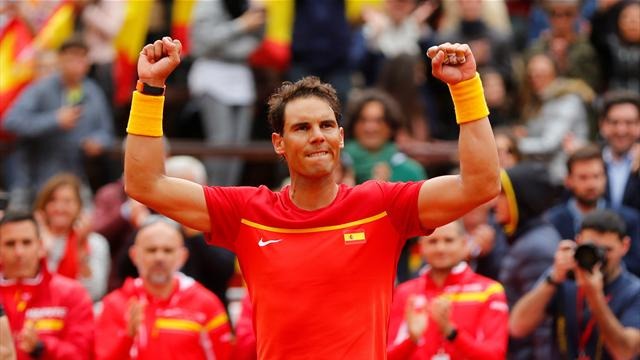 Record-setter Nadal roars back as Spain draw level against Germany