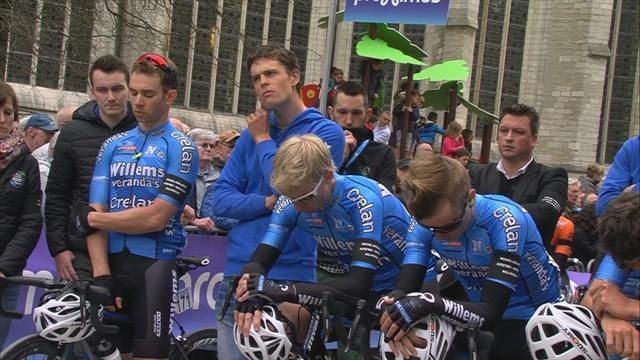 Emotions run high as minute's silence held for Michael Goolaerts