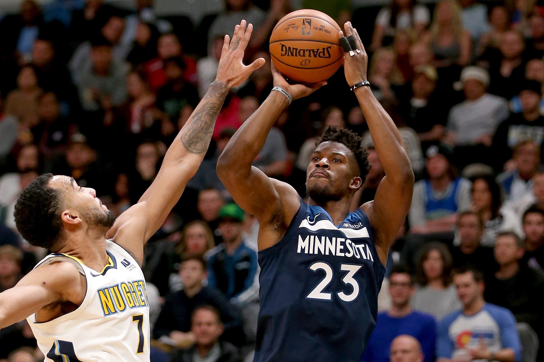 Jimmy Butler of Minnesota Timberwolves vs Denver Nuggets