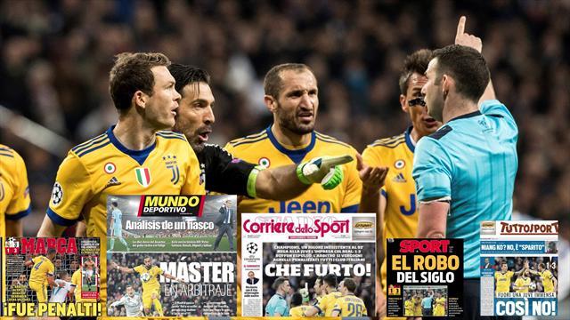 'Robo del siglo' o 'Máster en arbitraje', las portadas tras el polémico final del Madrid-Juventus