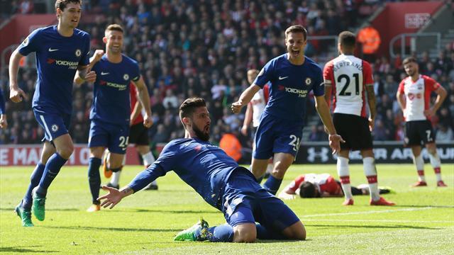 Highlights: På otte minutter vendte Giroud det hele på hovedet for Chelsea mod Southampton!