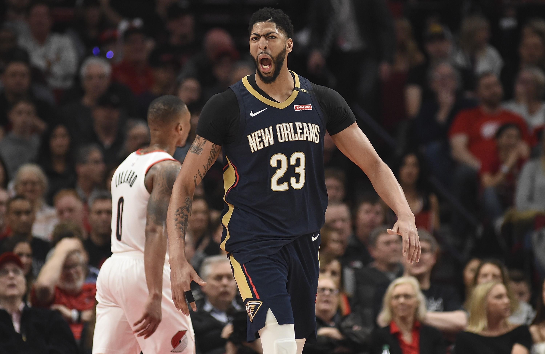 Anthony Davis (New Orleans Pelicans) contre les Portland Trail Blazers