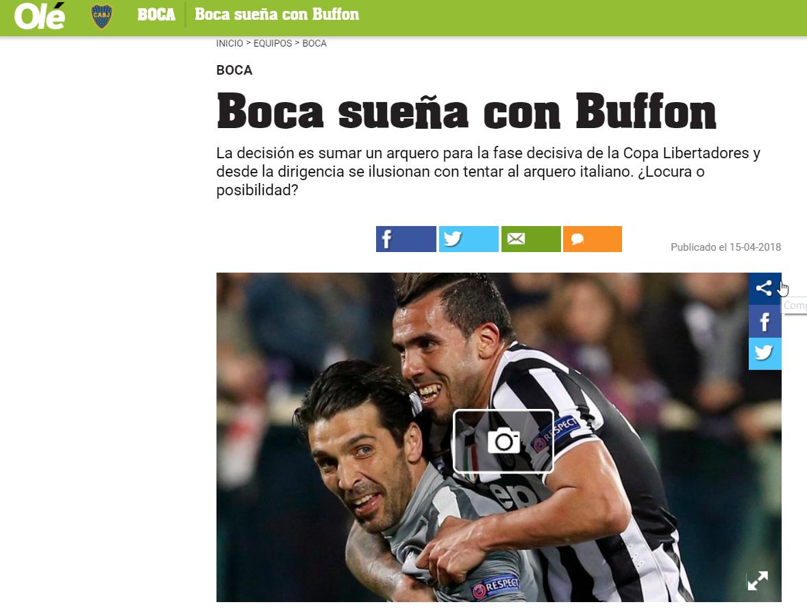 Tevez Buffon sogno Boca: la notizia del quotidiano Olé