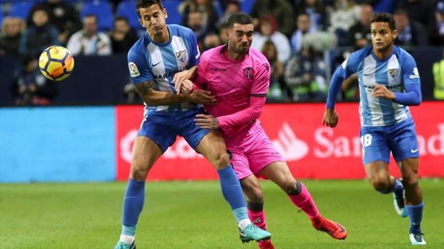 El Levante perdió en la última visita del Málaga por una picardía de Duda