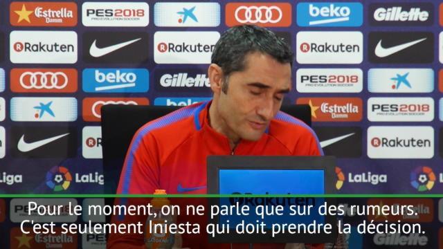 """Transferts - Valverde : """"Pour Iniesta, rien n'est acté"""""""