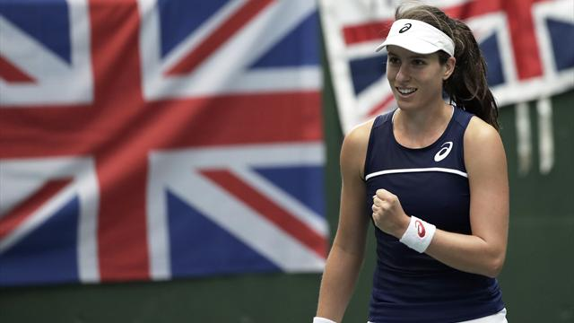 Konta brings Great Britain level in Fed Cup tie with Japan after Watson loses