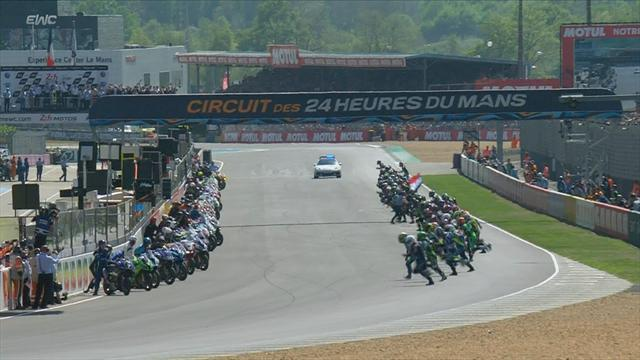 Le Mans 24 hours race: Riders sprint for bikes at start of marathon event