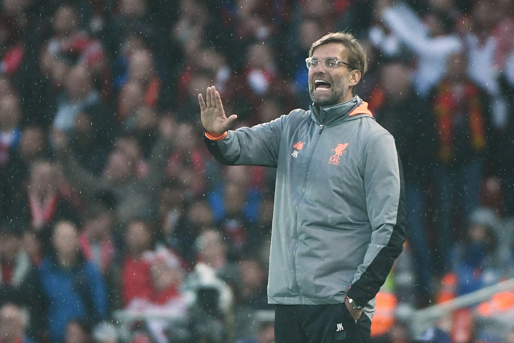 Liverpool's German manager Jurgen Klopp gestures during the UEFA Champions League first leg semi-final football match between Liverpool and Roma at Anfield stadium in Liverpool, north west England on April 24, 2018.