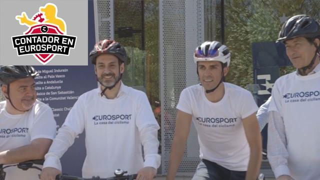 Alberto Contador pedalea con Eurosport en la presentación de la cobertura ciclista