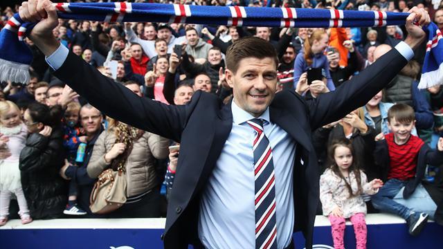 Présenté à Ibrox Park, Gerrard a déjà conquis le coeur des fans des Rangers