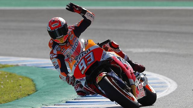 Marquez slaat dubbelslag in Jerez na bizarre valpartij