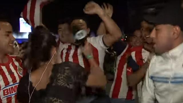 Журналистка впрямом эфире ударила футбольного поклонника, сунувшего руку ейвтрусы