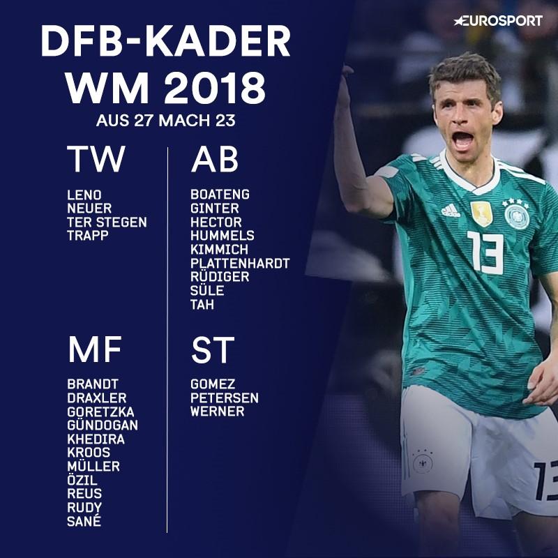 WM 2018: Der vorläufige Kader für Deutschland