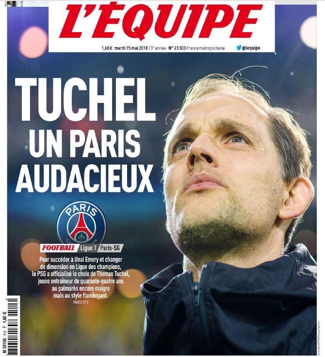 """Titelseite der """"L'Equipe"""" zu  PSG / Thomas Tuchel"""