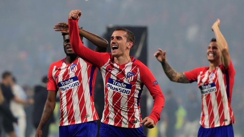 Lyon, France - May 16, 2018 Atletico Madrid's Antoine Griezmann celebrates winning the Europa Leagu
