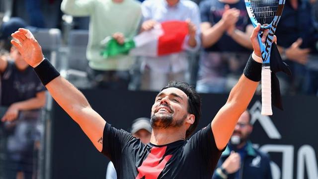 Fognini llega a cuartos por primera vez en Roma y espera a Nadal o Shapovalov