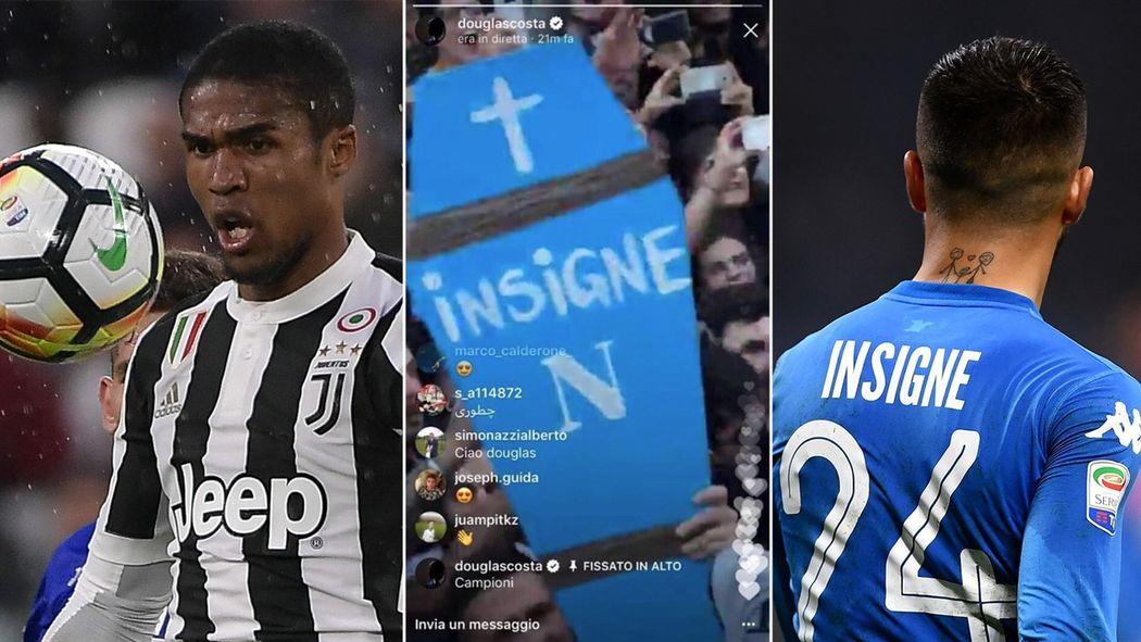 b24bcec161 Bara per Insigne nella festa-scudetto della Juventus filmata da Douglas  Costa: il Napoli si indigna - Serie A 2017-2018 - Calcio - Eurosport