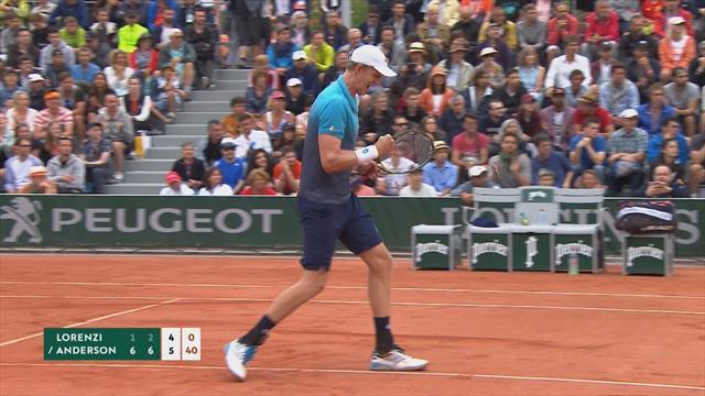 Roland Garros: Anderson-Lorenzi 6-1, 6-2, 6-4, gli highlights