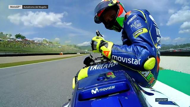 """Onboard bei Rossi: So freut sich der """"Doktor"""" über die Pole"""