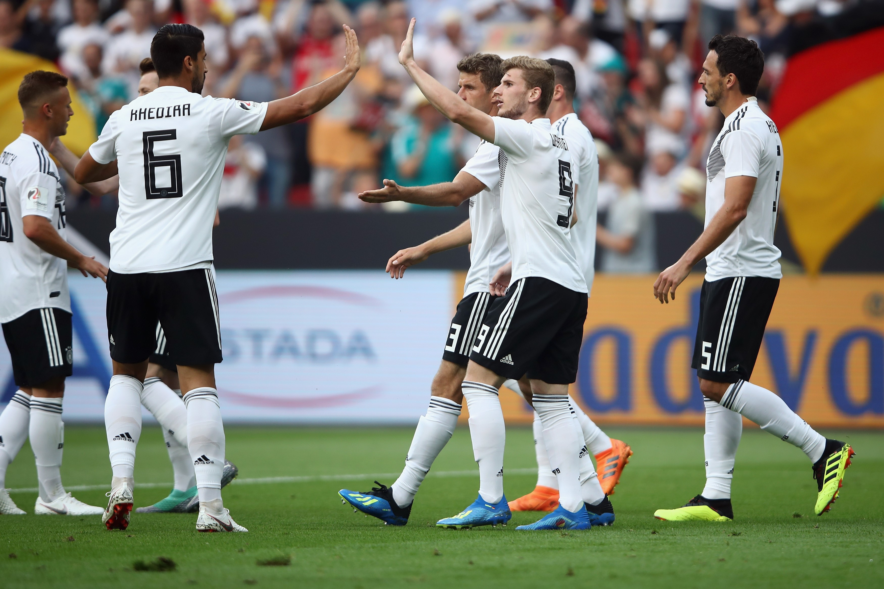 Timo Werner #9 of Germany celebrates his team's first goal with team mates during the international friendly match between Germany and Saudi Arabia ahead of the FIFA World Cup Russia 2018