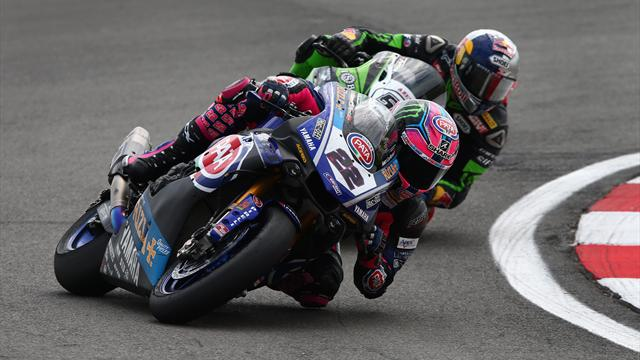 Lowes takes first win, Rea crashes out following clash with Sykes