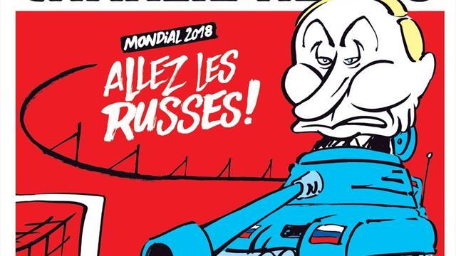 Путин попал на обложку Charlie Hebdo в образе танкиста, который целится в футбольные ворота