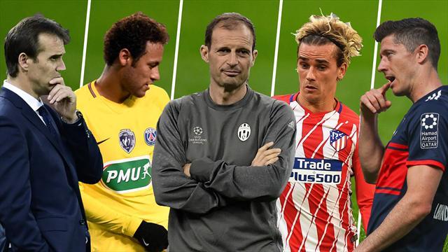 Lopetegui, Neymar, Allegri, Griezmann y Lewandowski, los nombres del día