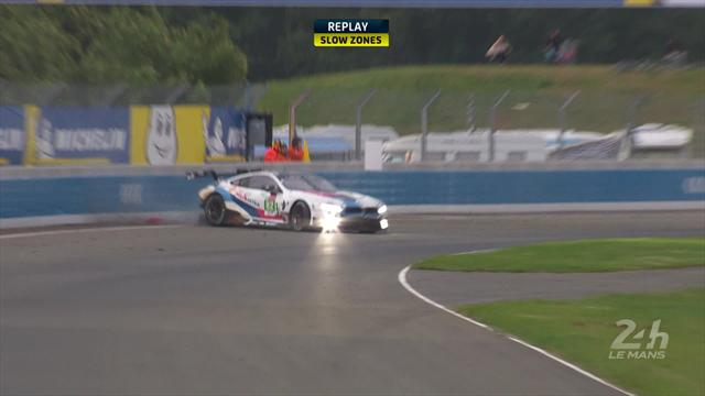 Smoke billows from Sims' car after crash into wall
