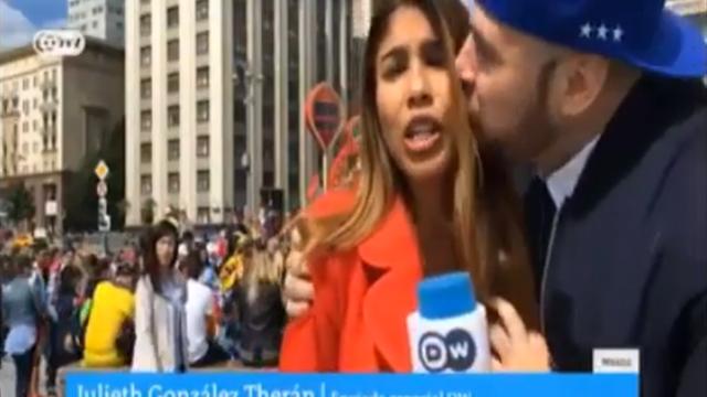 Фанат с криком «Россия – чемпион» поцеловал и схватил за грудь журналистку немецкого телеканала